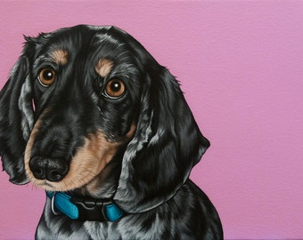 Custom Dog Portrait, 10x14 Pop Painting of Your Dog, Double Dapple Dachshund Portrait, Hand Painted Portrait of your Purebred Dog