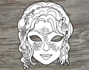 Mermaid Mask (to colour in) - Digital File
