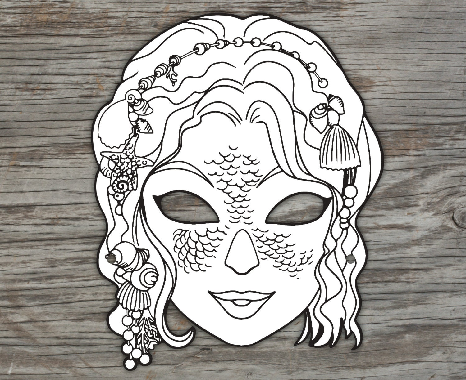 Mermaid Mask to colour in Digital File