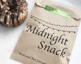 Wedding Favor - Personalized Midnight Snack Bags! - Treat Bags - Also great for engagement party or Rehearsal Dinner!