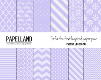 Sofia the first inspired digital paper pack for scrapbooking,Making Cards, Tags and Invitations, commercial use / Instant Download
