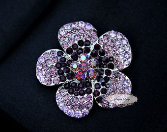 Amethyst Rhinestone Brooch Embellishment - Flatback - Rhinestone Broach - Brooch Bouquet - Supply - Flower - Wedding Jewelry Supply - RD252