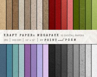 50% OFF SALE Kraft Digital Paper, Scrapbooking Paper, Colorful, Cardboard Backgrounds - Commercial Use