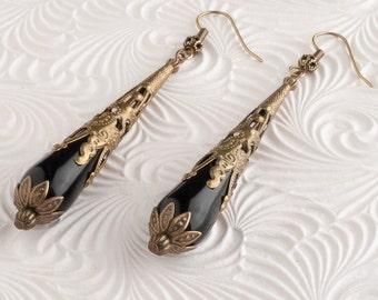Black Onyx Earrings, Teardrop Earrings, Black Dangle Earrings, Art Nouveau Brass Filigree, Downton Abbey Inspired, Victorian Style