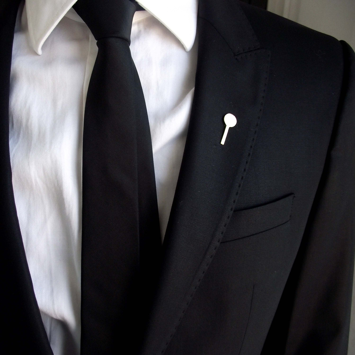 mens black gold suit tie tack pin tacks and clutch brooch
