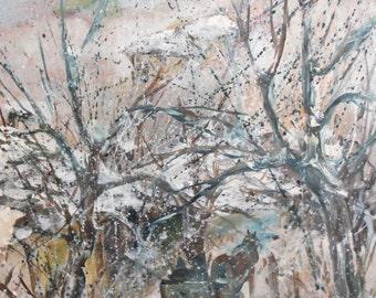 Vintage Oil Painting Winter Landscape Sledge