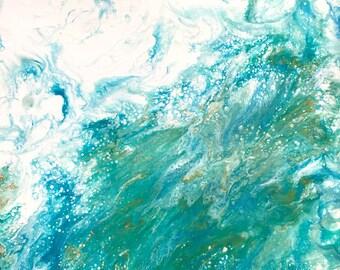 Abstract Painting, Original Art, Fluid Art, Home Furnishings, 12x12, Turquoise Art, Painting Canvas, Interior Decoration, Beach Art Atlantis