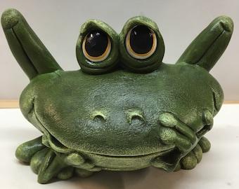 Medium Handmade ceramic frog with yellow eyes