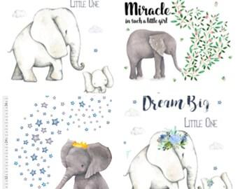 Elephant Nursery, Elephant baby girl bedding, Elephant baby boy bedding, elephant blanket, Dream Big Little one, Miracle quote Baby Elephant
