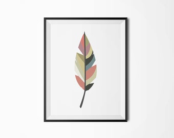Colorful feather poster, Modern poster, Printable poster, Minimal wall decor, Scandinavian poster, Wall decor, Nordic decor