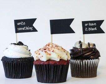 Flag cupcake topper, graduation party retirement party, black cupcake topper, customize cupcake topper personalize, black theme event decor