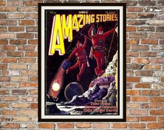Sci fi Print Poster, Amazing Stories Vintage Magazine Print, Vintage Print, Dime Magazine, Amazing Stories Magazine Sci-Fi Art Item 0187