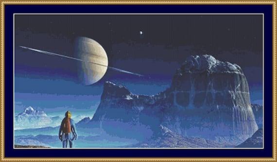Voyager Moon Cross Stitch Pattern /Digital PDF Files /Instant downloadable
