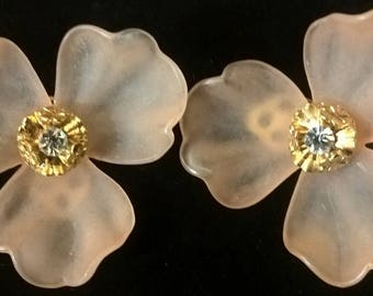 Large, vintage art deco Flower Earrings, 80s, woman, girl, pink