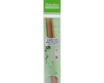 """Chiao Goo Double Point Dark Patina Knitting Needles 6"""" US 1.5"""