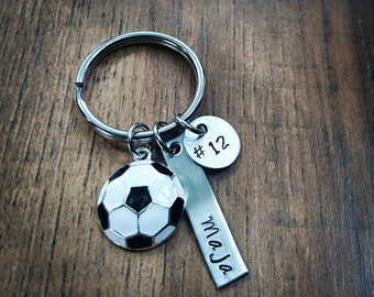 Hand Stamped Personalized Soccer Keychain - Soccer Team Gift - Boys Soccer Gift - Girls Soccer Team Gift - Soccer Gifts