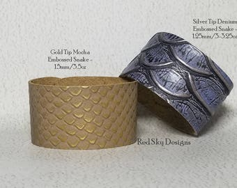 Embossed Reptile Metallic Leather Embossed Leather Cuffs PACK OF 4  Embossed  Leather Bracelets Leather Jewelry Designs Leather Supply Cuffs