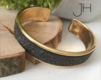 Brass Bangle cuff galvanized OR GOLD / fancy Ribbon Insertion glittery grey-black / gold bracelet / layering jewelry