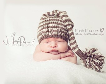 Knitting PATTERNS - Sleeping Hat Knitting Pattern, Knit Pixie Hat Pattern, (Baby to Adult Sizes) - Make 2 Ways - Photo Prop - PDF 211