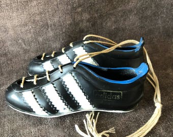 Vintage adidas soccer shoes for hanging on rear view mirror or hook.
