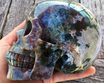 Amazing Huge Realistic Colorful Moss Agate Carved Skull - Free Shipping - Large Agate Skull