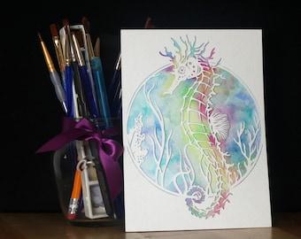 Original papier hippocampe coupé à l'aquarelle