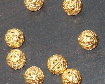 50 pcs of gold plated filigree round beads 6mm