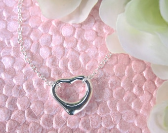 Simple Cute Heart Charm Necklace, .925 Sterling Silver