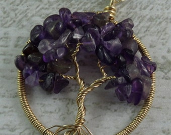 Amethyst Tree of Life 14kt Filled Gold Pendant on Chain