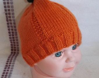 Knitted Pumpkin Hat - Baby Pumpkin Patch Beanie - Pumpkin Beanie