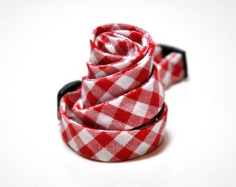 Men's Bow Tie - Red Gingham Freestyle Bowtie