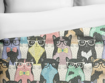 Nerdy Cats Geeky Rainbow Kittens with Glasses Duvet Cover, Printed in USA