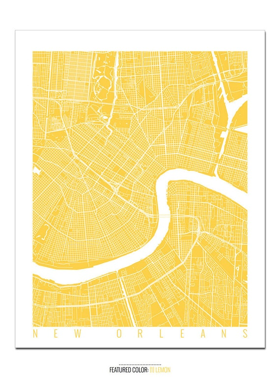 NEW ORLEANS Map Art Print / Louisiana Poster / New Orleans