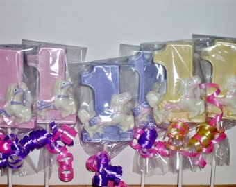 Number One Lollipop baby's first birthday carousel horse theme
