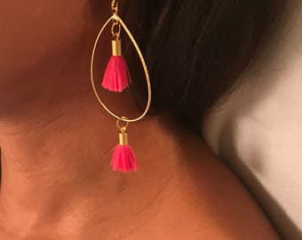 Gold Earring with Pink Tassels
