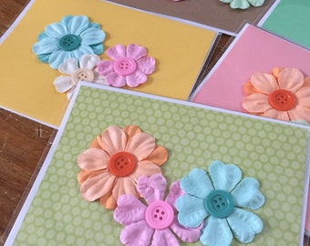 Button Flower Greeting Card
