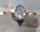One of a Kind Black + White Rose Cut Diamond Engagement Ring