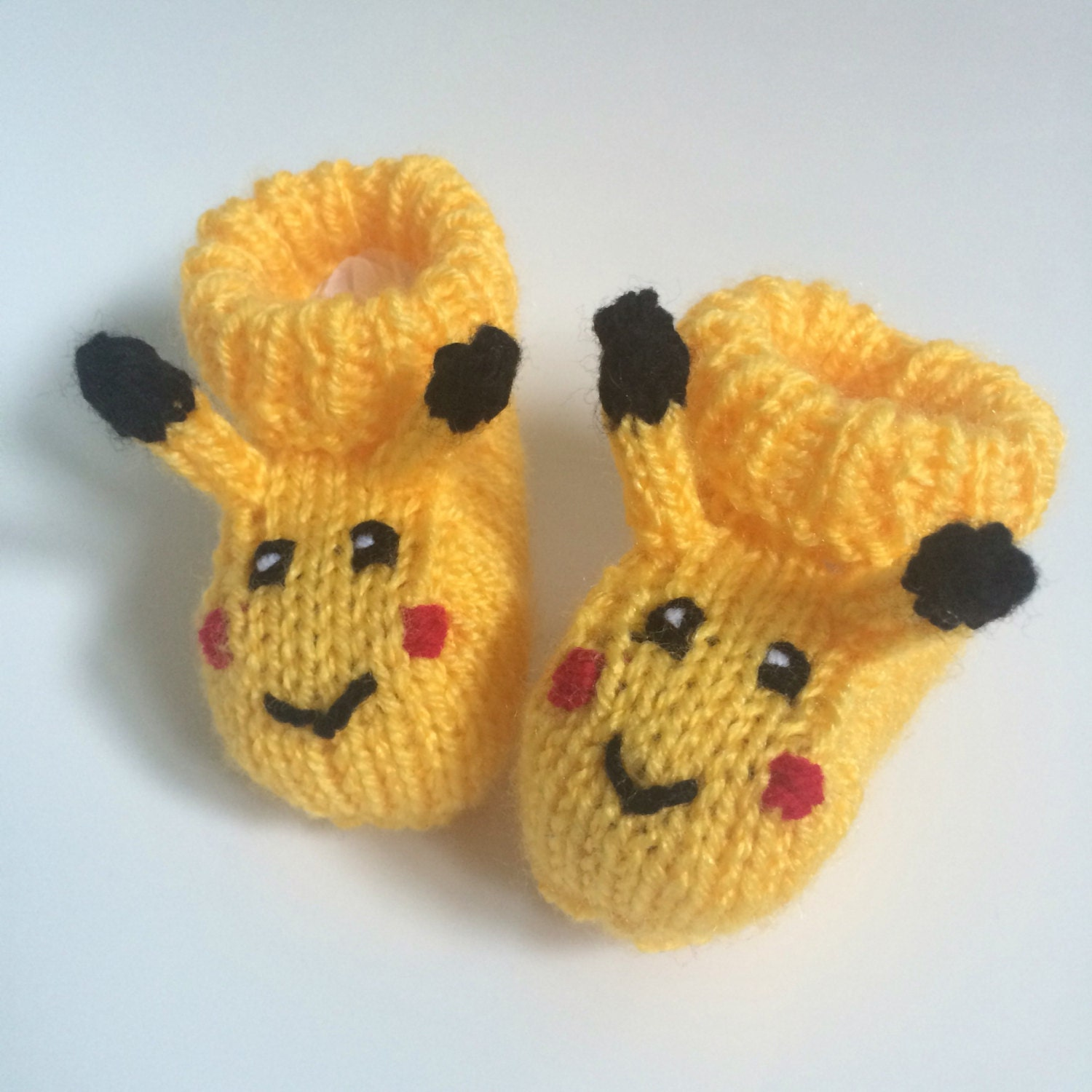 Pikachu knitted baby booties pokemon baby t girl baby boy