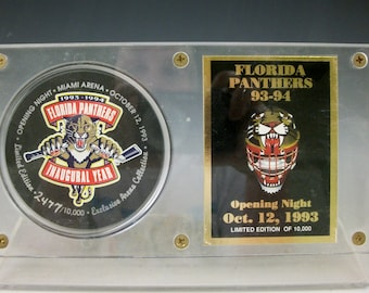 1993 Florida Panther Opening Night Puck and Card Limited Edition in Acrylic display Case