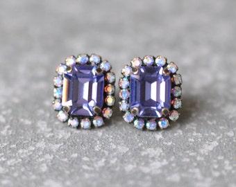 Tanzanite Aurora Borealis Earrings Emerald Cut Swarovski Crystal Studs Rectangle Rhinestone Wedding Bridesmaid Earrings Mashugana
