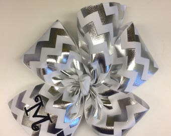 Chevron Metallic, Monogram Initial, Hairbows Letter, Hair Bow Gift, Girls Custom large, Embroidered, Silver White, Shiny Huge, Uniform Kids