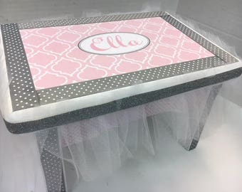 Little Girl's Bench- Pink and Gray Moroccan Design