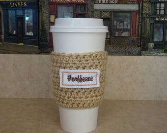 Beige Coffee Cup Sleeve, #Coffee Crochet Cup Sleeve, Crochet Cup Cozy,All Season Cup Cozy, Reusable Cup Sleeve, Coffee Lover Gift, Tea Cozy