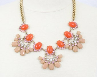 Blush Fan Necklace Coral Orange Dusty Pink Statement Necklace Rhinestone Fan Necklace Chunky Bib Necklace