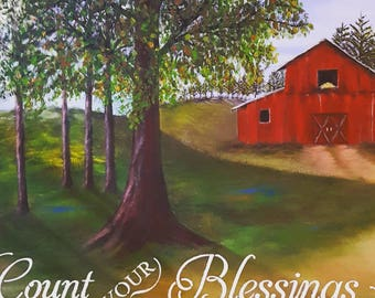 Red barn landscape with quote