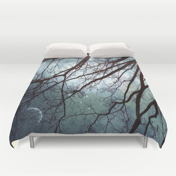 Moonlit Trees Duvet Cover, Decorative, stars Bedding, night sky, woodland bedding, nature, Starry Night Bedding, Woods, mysterious, Dorm
