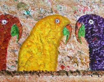 Parrots, Five Parrots, Parrot Art, Five Parrots from the Lost Cave Paintings of St Paul, Framed