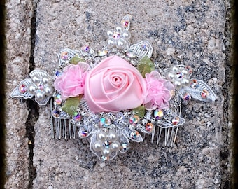 Pink Satin Rose Swarovski Crystal Hand Sewn Beaded Lace Floral Wedding Bride Dancer Costume Hairpiece Comb