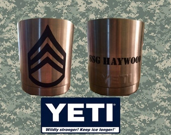 Yeti Decal - Car Vinyl Decal **Army Rank and Name**