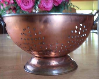 Vintage Copper/Aluminum Collander with Brass Handles.